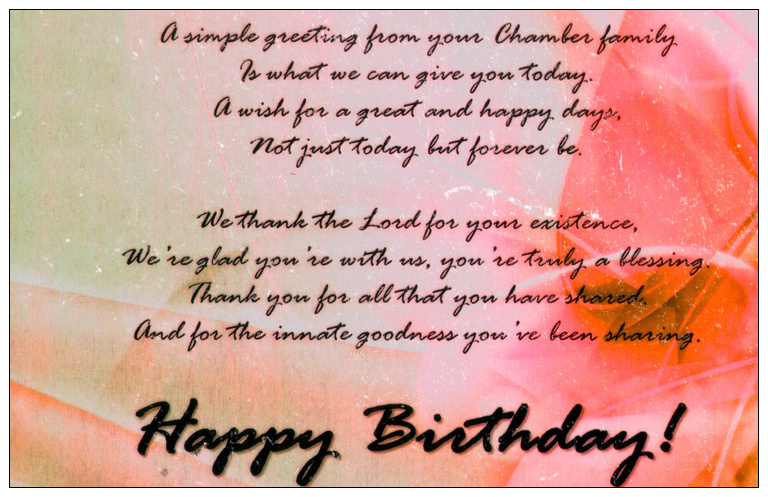 A Simple Greeting From Your Chamber Family Happy Birthday