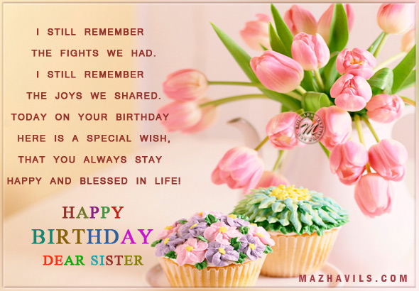 Happy Birthday Dear Sister God Blessed You Nice Wishes
