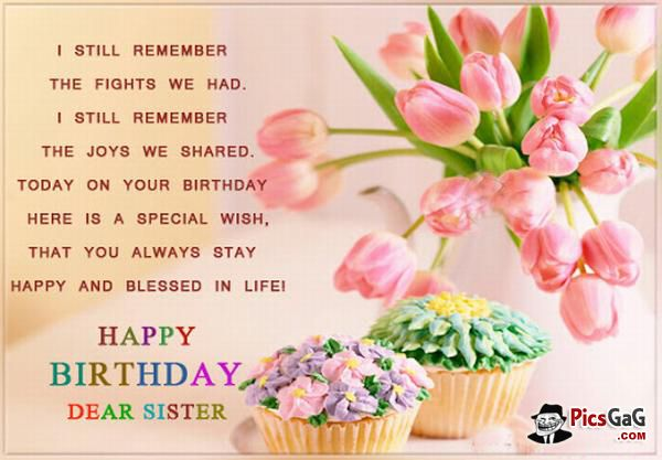 Happy Birthday My Dear Sister NiceWishes – Sister Birthday Greetings Message