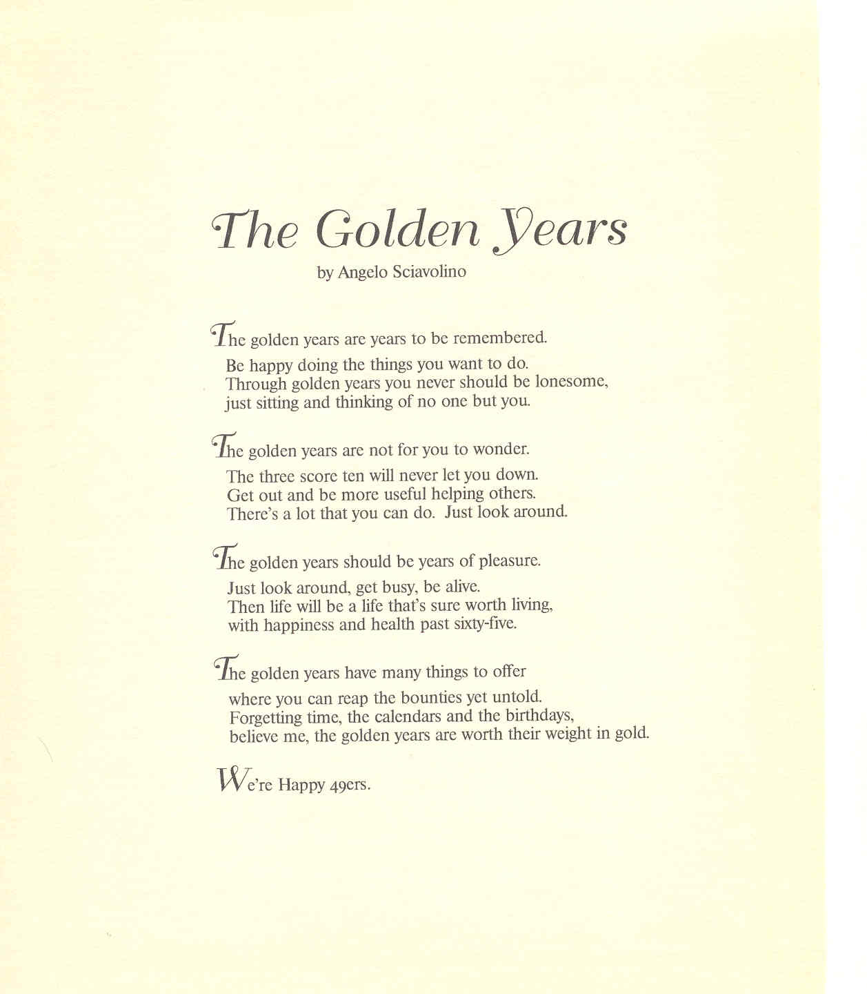 the golden years poem analysis essay