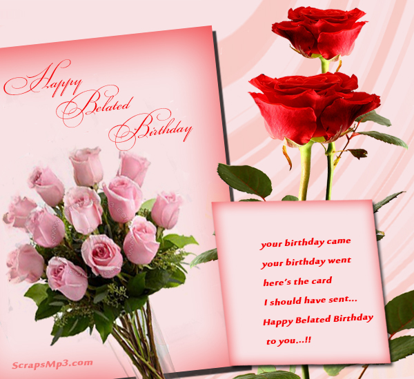 Wonderful Roses Belated Birthday Cards