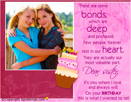 Wonderful Sister Birthday Wishing Card