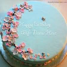 Amazing Cake With Decorate Flower Birthday Wishes For Wife