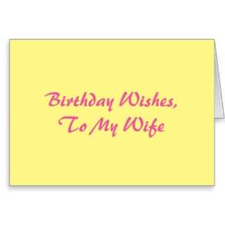 Birthday Wishes For My Wife Pink On Bright Yellow E-Card