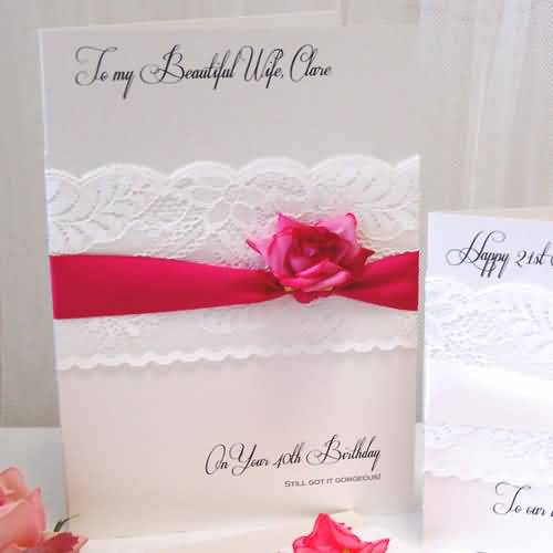 40th Birthday Wishes For Wife ~ Lace rose to my beautiful wife on your th birthday e card nicewishes