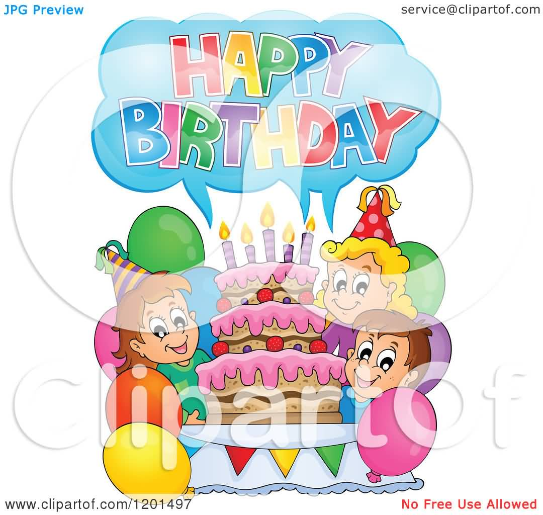 Lovely Cartoon With Around A Cake Happy Birthday Sweet Baby