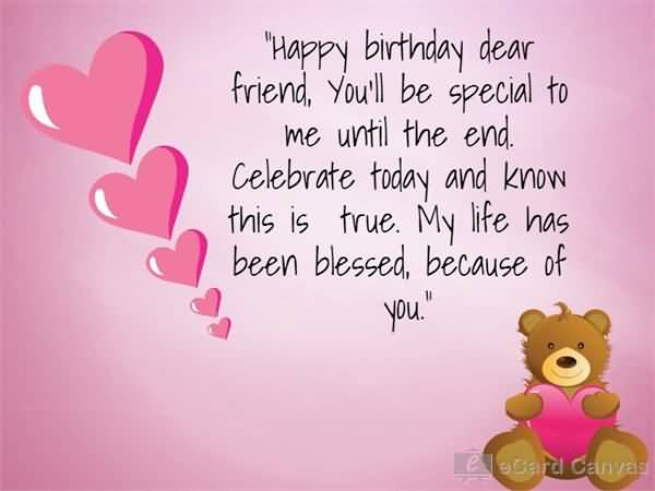Lovely Heart With Teddy Bear Birthday Wishes For Dear Friends Happy Birthday Wishes For Lovely Friend