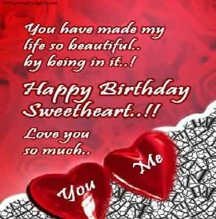 Lovely Two Heart Birthday Wishes For Wife