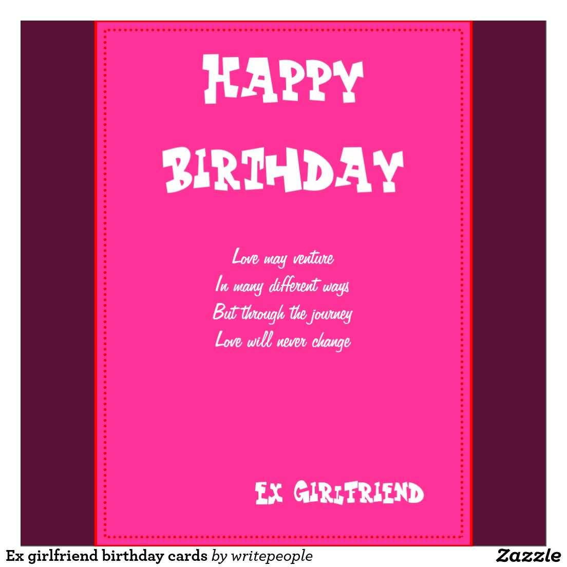Pink E Card Birthday Wishes For Ex Girlfriend