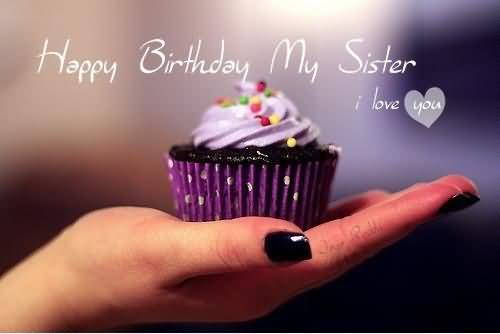 Amazing Cup Cake Birthday Wishes For My Sister E-Card