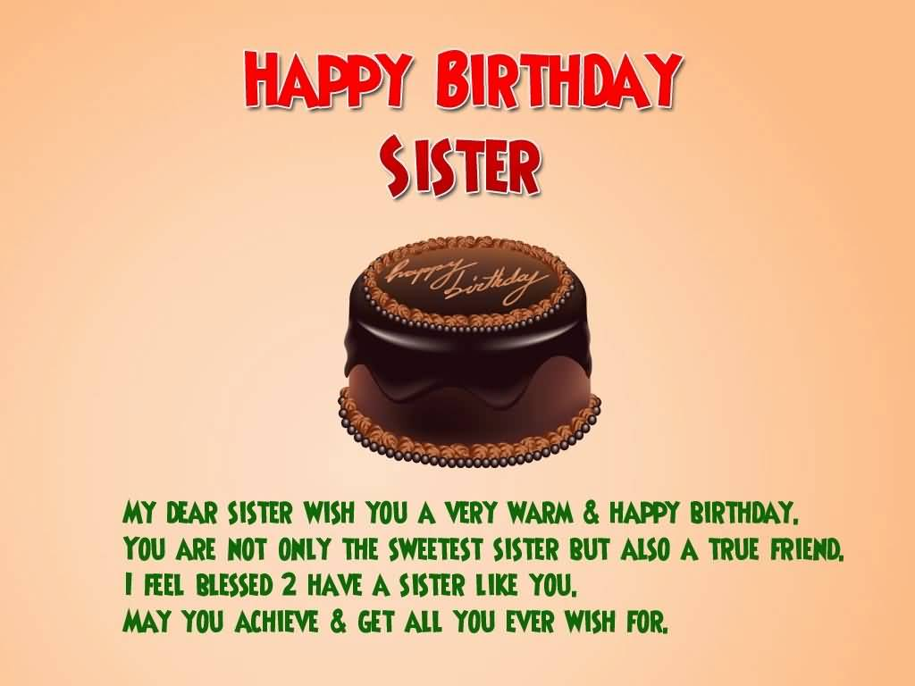 Birthday Wishes For Sister With Chocolate Cake ~ Images birthday wishes for sister loving greetings page nicewishes