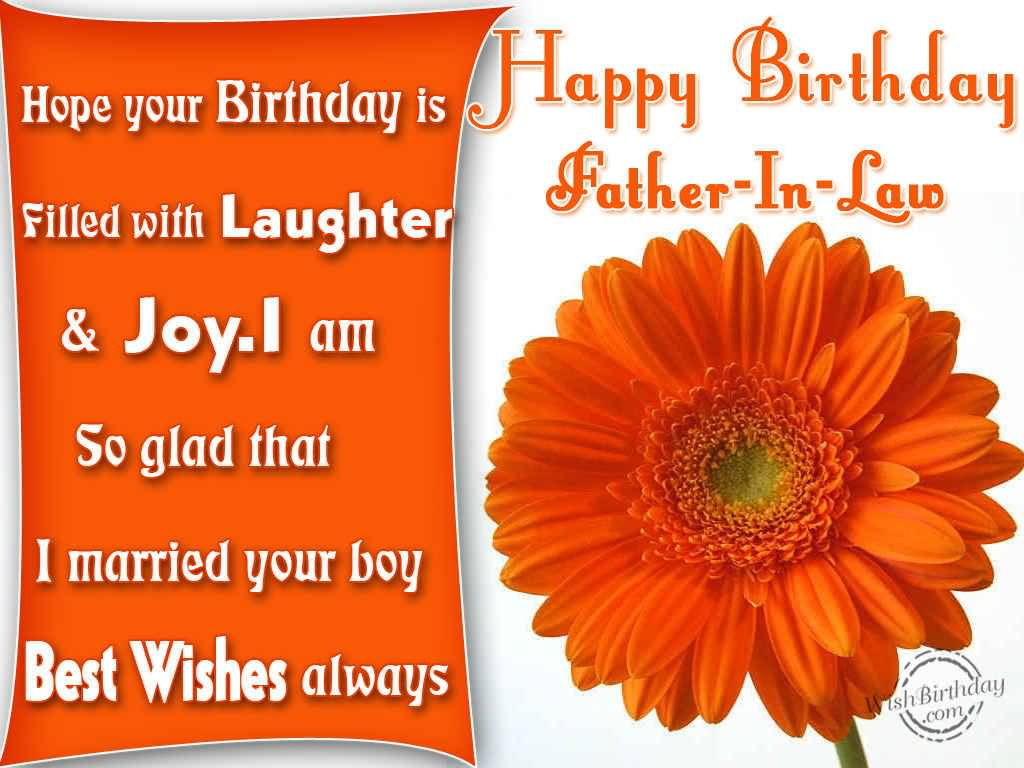 Beautiful Orange Flower Birthday Wishes For Father In Law Greetings