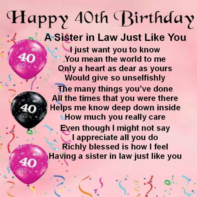 40th Birthday Wishes For Sister ~ Birthday wishes for sister in law nicewishes page