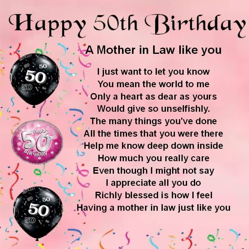 Lovely Greetings 50th Birthday Wishes For Mother In Law