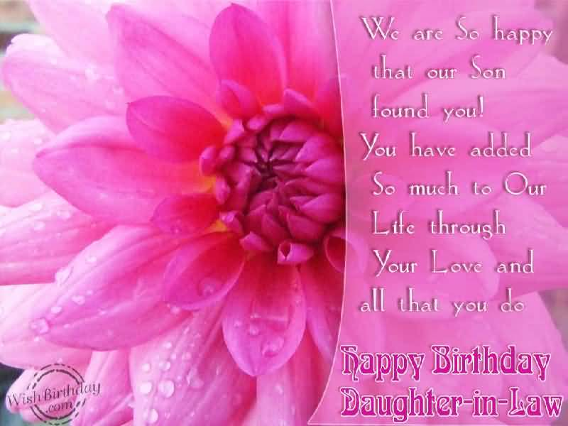 Lovely Pink Flower Birthday Wishes For Daughter In Law Greetings