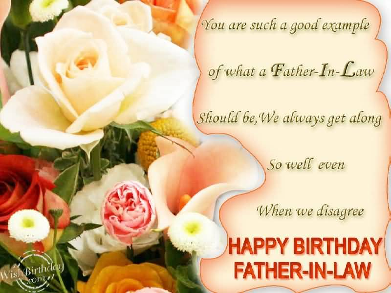 Nice Flower Birthday Wishes For Father In Law E-Card
