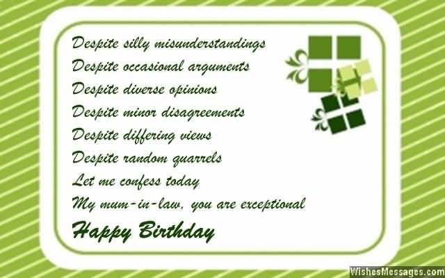 Nice Green Greetings Birthday Wishes For Mother In Law