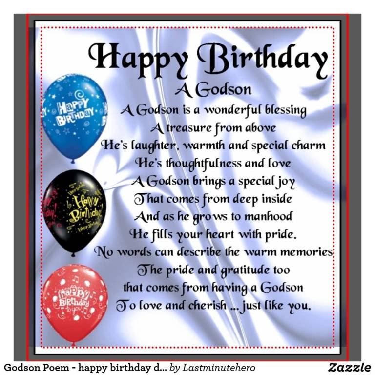 Nice Poem Birthday Wishes For Godson E-Card