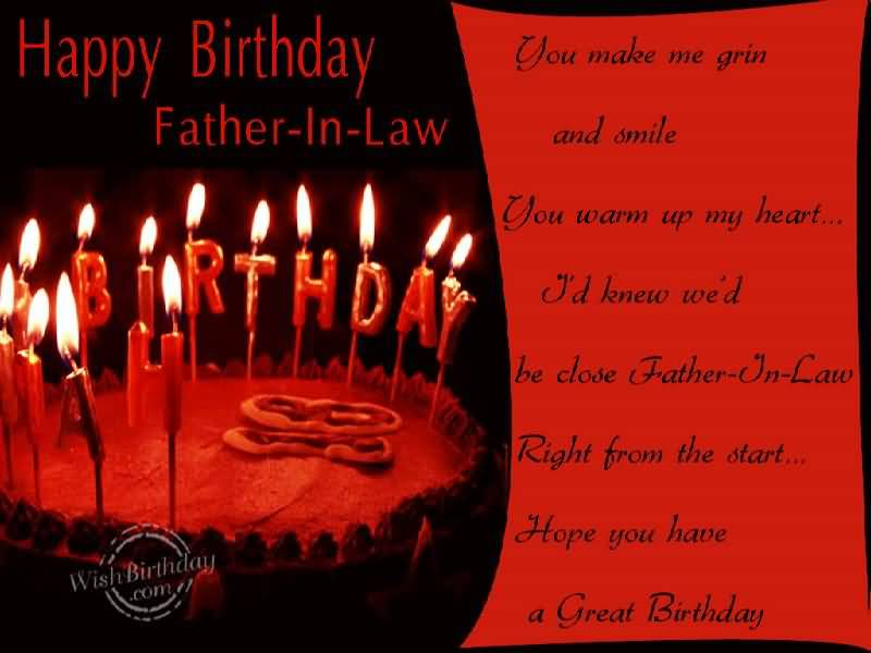 Nice Red E-Card Birthday Wishes For Father In Law