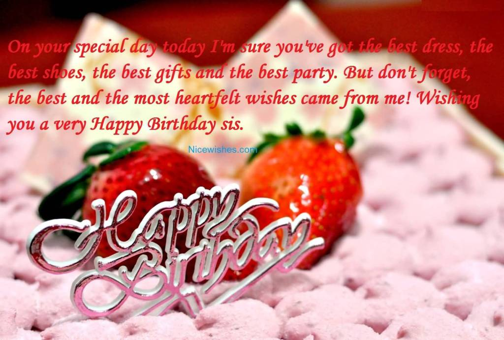 Sweet Birthday Cake With Strawberry For Sister Greetings ...