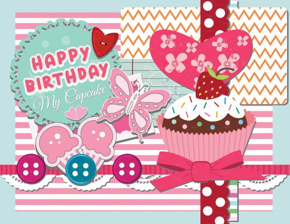 Sweet Cup Cake Birthday Wishes For Girls