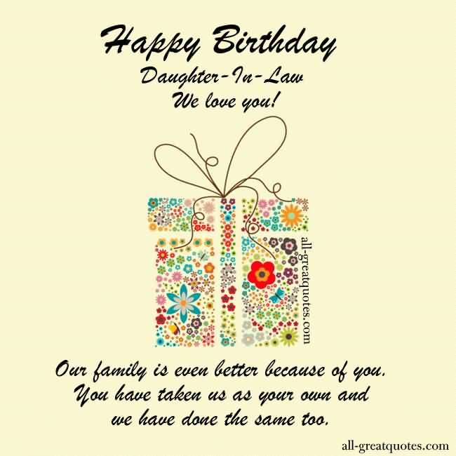 Sweet Greetings Birthday Wishes For Daughter In Law Quotes