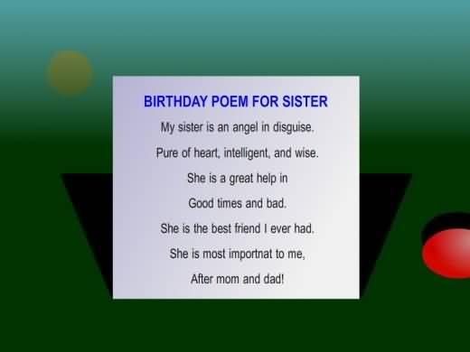 Terffic E-Card Birthday Wishes For Sister Poem