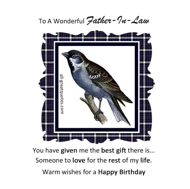 Wonderful Bird Birthday Wishes For Father In Law Quotes
