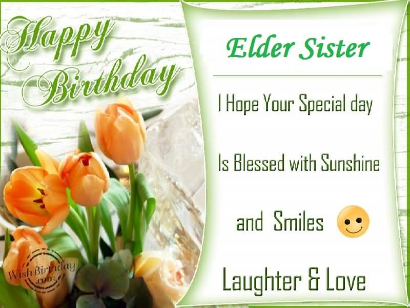 Beautiful Flower Birthday Wishes For Elder Sister E-Card