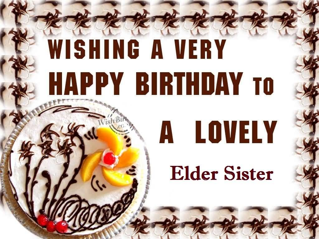 Delicious Cake Birthday For Elder Sister E-Card