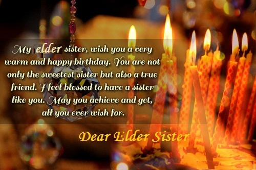 Lovely Birthday Wishes For Elder Sister