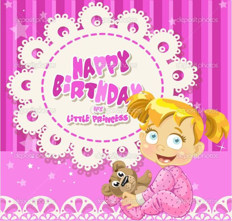 Lovely E-Card Birthday Wishes For Baby Girl