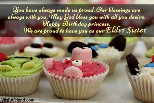 Sweet Cup Cake Birthday Wishes Elder Sister