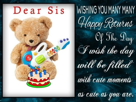 Cute Birthday Quotes For Sister E-Card