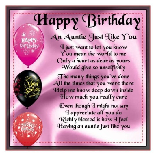 Ultimate Birthday Poems For Aunt