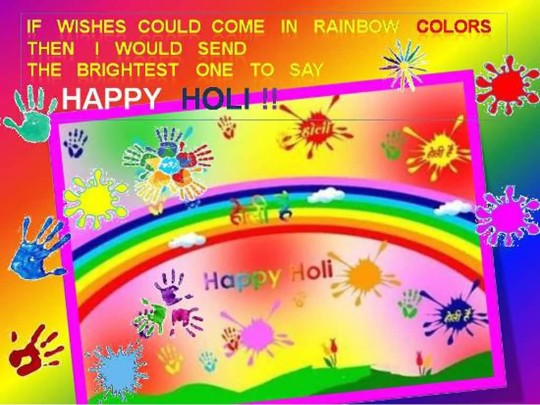 Colorful Holi Festival Greeting Card With Message