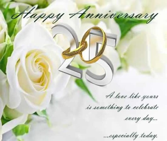 Lovely Greetings 25th Anniversary Wishes For Friends
