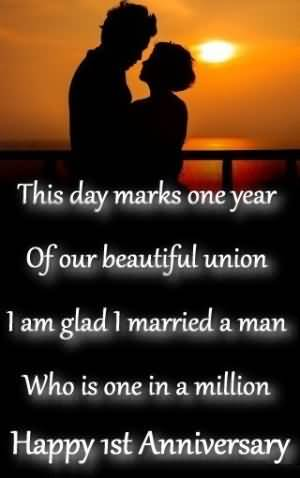 Romantic Image 1st Anniversary Wishes For Husband