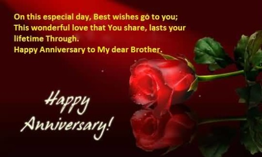 Lovely Anniversary Wishes For Brother Wallpaper Image