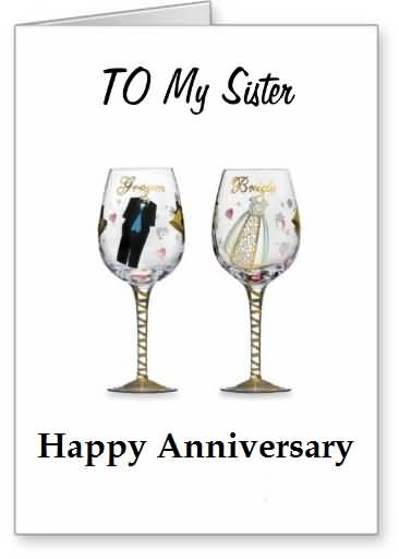 Lovely E-Card Anniversary Wishes For Sister
