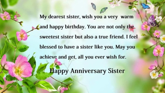Nice Greetings Anniversary Wishes For Sister