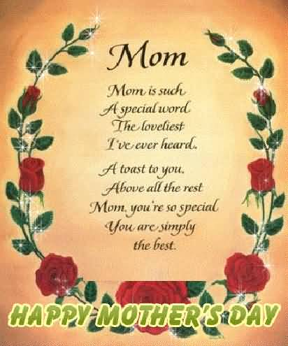 Nice Poem Happy Mother's Day Greetings