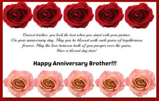 Sweet Message Anniversary Wishes For Brother Image