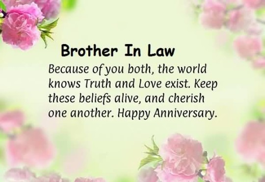 Sweet Message Anniversary Wishes For Brother In Law