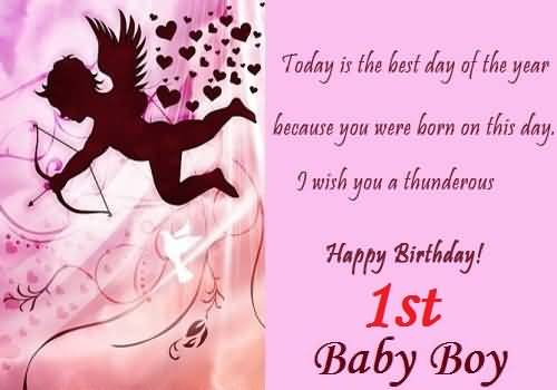 Beautiful Greetings Birthday Wishes For 1st Baby Boy NiceWishes – 1st Birthday Greetings for Baby Boy