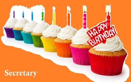 Lovely Cup Cake Birthday Wishes For Secretary E-Card
