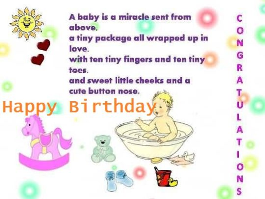Nice Poem Birthday Wishes For 1st Baby Boy E-Card