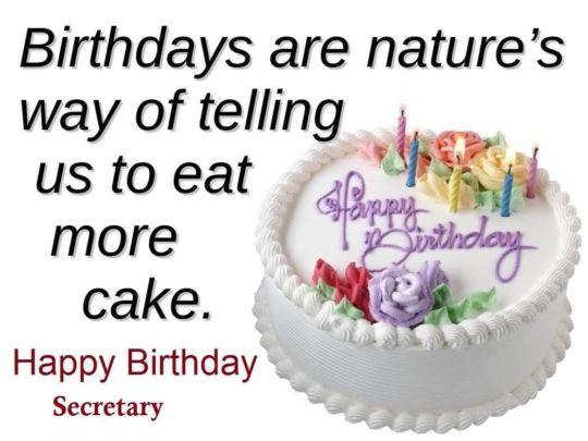 Sweet Cake Birthday Wishes For Secretary E-Card