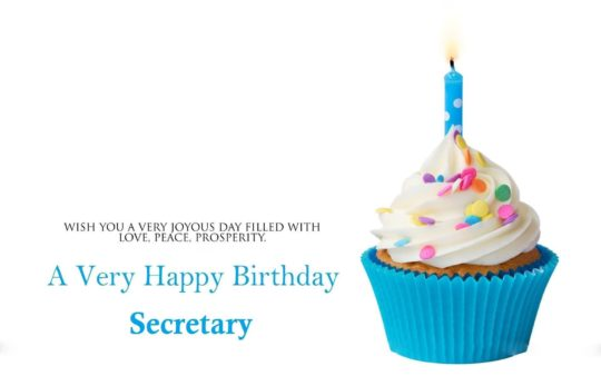 Sweet Tasty Cup Cake Birthday Wishes For Secretary E-Card