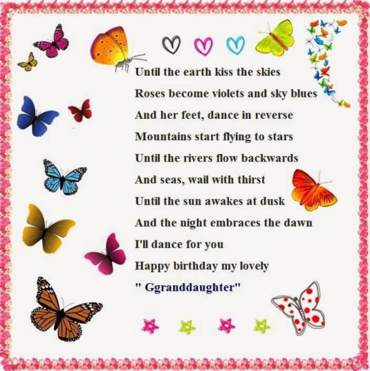 Beautiful Birthday Wish Rhyming For Grand Daughter